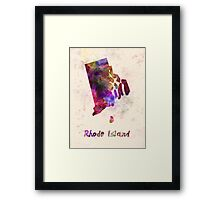 Rhode Island US state in watercolor Framed Print