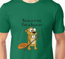 Funny Save a Tree, Eat a Beaver Cartoon Unisex T-Shirt