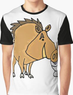 Funny Cool Warthog Drinking from Toilet Bowl Graphic T-Shirt