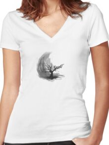 Sumi e sakura tree Women's Fitted V-Neck T-Shirt