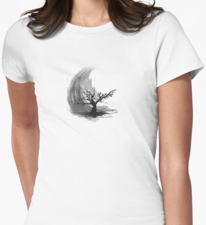 Sumi e sakura tree Womens Fitted T-Shirt
