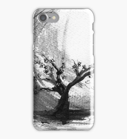 Sumi e sakura tree iPhone Case/Skin