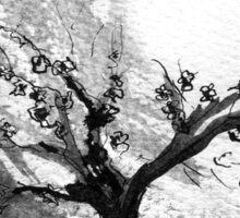 Sumi e sakura tree Sticker