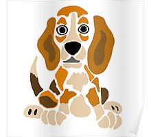 Cool Funny Funky Beagle Puppy Abstract Art Poster