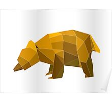 origami made brown bear Poster