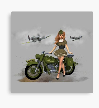 Spitfire Pin Up Art Canvas Print