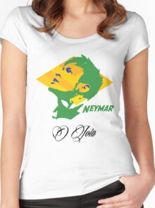BRAZIL NEYMAR JR. WC 14 FOOTBALL T-SHIRT Women's Fitted Scoop T-Shirt
