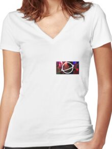 PSYCHEDELIC KIRSTEN Women's Fitted V-Neck T-Shirt