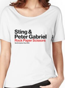 STING PETER GABRIEL ROCK PAPER SCISSORS WHITE Women's Relaxed Fit T-Shirt