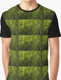 Tropical Green Rhythms - Feathery Fern Fronds - Horizontal View Upwards Right Graphic T-Shirt