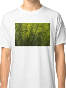 Tropical Green Rhythms - Feathery Fern Fronds - Horizontal View Upwards Right Classic T-Shirt
