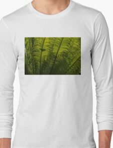 Tropical Green Rhythms - Feathery Fern Fronds - Horizontal View Upwards Right Long Sleeve T-Shirt