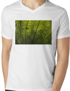 Tropical Green Rhythms - Feathery Fern Fronds - Horizontal View Upwards Right Mens V-Neck T-Shirt