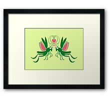 Grasshoppers deeply falling in love Framed Print