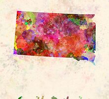 South Dakota US state in watercolor by paulrommer