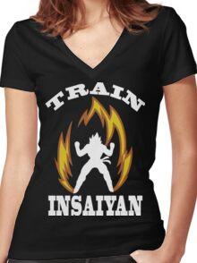 Train Insaiyan Women's Fitted V-Neck T-Shirt