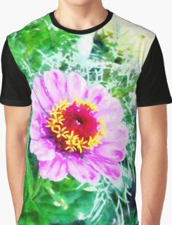A digital painting of A Pink Zinnia Graphic T-Shirt