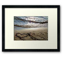 Sand beach heart Framed Print