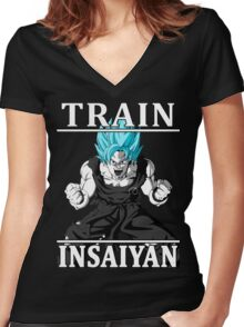 Train insaiyan god Women's Fitted V-Neck T-Shirt