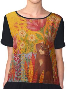 Cat in the Garden Chiffon Top