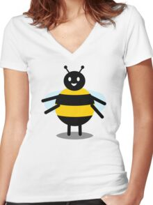 funny friendly bumble bee Women's Fitted V-Neck T-Shirt