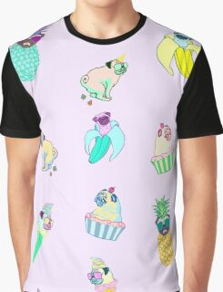 pugs fruit ice cream doodle Graphic T-Shirt