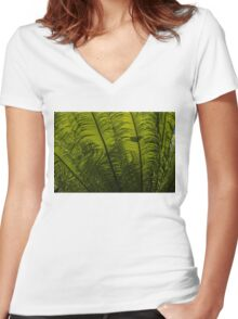 Tropical Green Rhythms - Feathery Fern Fronds - Horizontal View Upwards Left Women's Fitted V-Neck T-Shirt