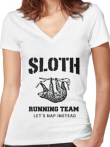 SLOTH RUNNING TEAM, LET'S NAP INSTEAD Women's Fitted V-Neck T-Shirt
