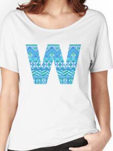 Letter W Blue Aztec Stripes Pattern Boho Monogram Initial Women's Relaxed Fit T-Shirt