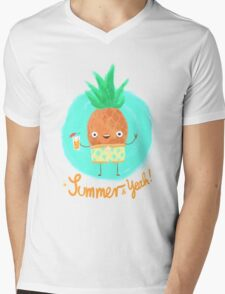 Summer & Yeah (Pineapple) Mens V-Neck T-Shirt