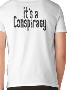 CONSPIRACY, It's a Conspiracy, Conspire, Black on White Mens V-Neck T-Shirt