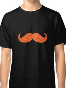 Orange Glitter Mustache Classic T-Shirt