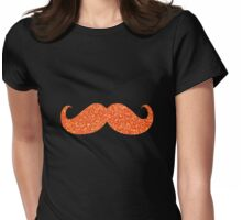 Orange Glitter Mustache Womens Fitted T-Shirt