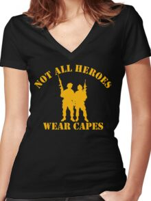 Not All Heroes Wear Capes (Gold print) Women's Fitted V-Neck T-Shirt
