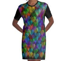Dripping Watercolor Hearts Graphic T-Shirt Dress