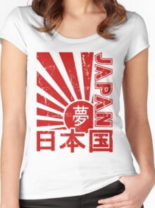 Vintage Japan Rising Sun Kanji T-Shirt Women's Fitted Scoop T-Shirt