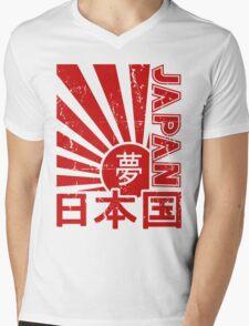 Vintage Japan Rising Sun Kanji T-Shirt Mens V-Neck T-Shirt