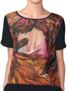 Hand drawn fox in Watercolor Chiffon Top