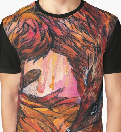 Hand drawn fox in Watercolor Graphic T-Shirt