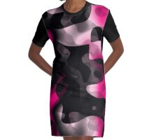 pink and black abstract 5 Graphic T-Shirt Dress