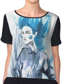 Fashion girl in sketch-style.watercolor illustration. Chiffon Top