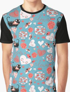 pattern of cat lovers heart Graphic T-Shirt