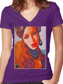 A NIGHT IN ZAIRE Women's Fitted V-Neck T-Shirt
