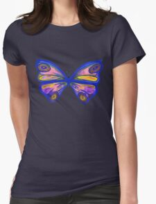 Watercolur Butterfly 1 (blue) Womens Fitted T-Shirt