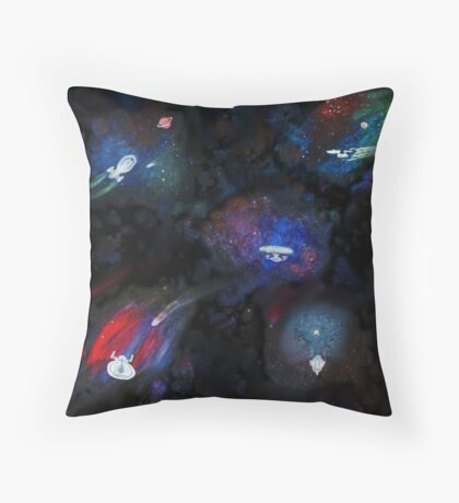 Painted starships Collage Throw Pillow