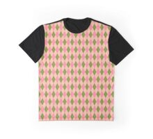 Pink and Green Girlie Preppy Argyle Pattern Graphic T-Shirt