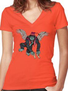 Flyin' Monkey Women's Fitted V-Neck T-Shirt