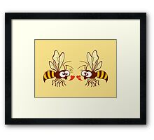 Couple of beautiful bees discussing about love Framed Print