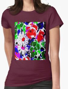 """LARGE COLOR FLOWER"" Art Deco Print Womens Fitted T-Shirt"