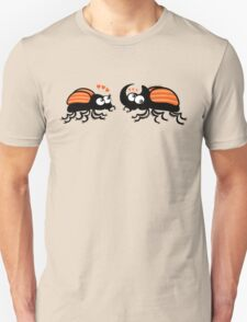 Couple of rhinoceros beetles shyly falling in love Unisex T-Shirt